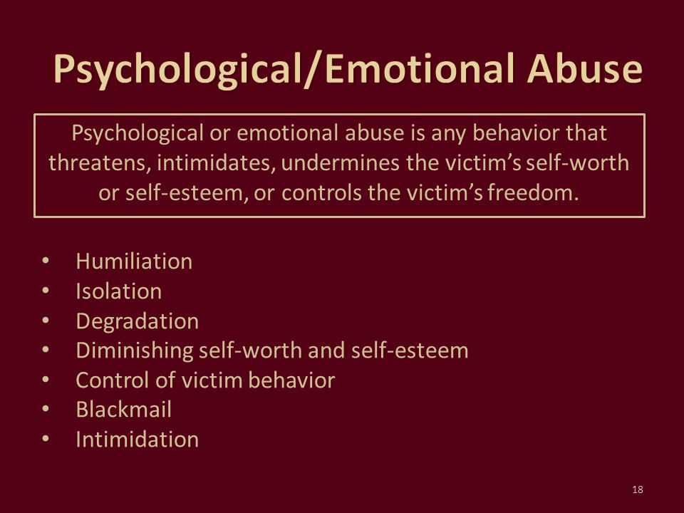Psychological/Emotional Abuse