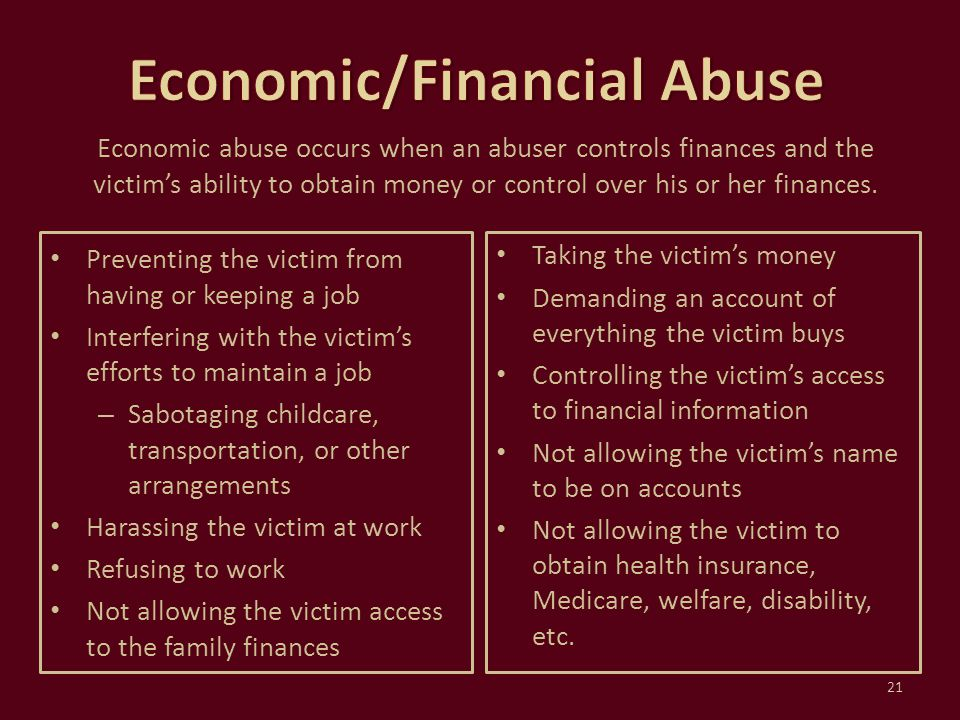 Economic/Financial Abuse