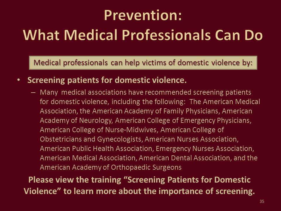 Prevention: What Medical Professionals Can Do