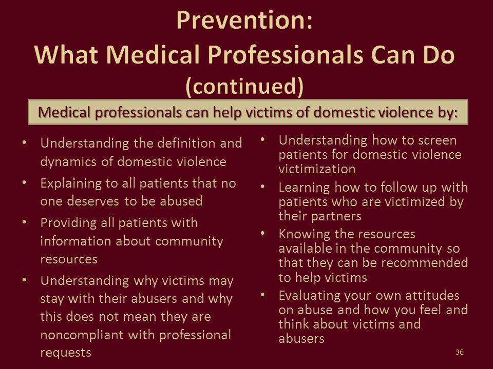 Prevention: What Medical Professionals Can Do (continued)