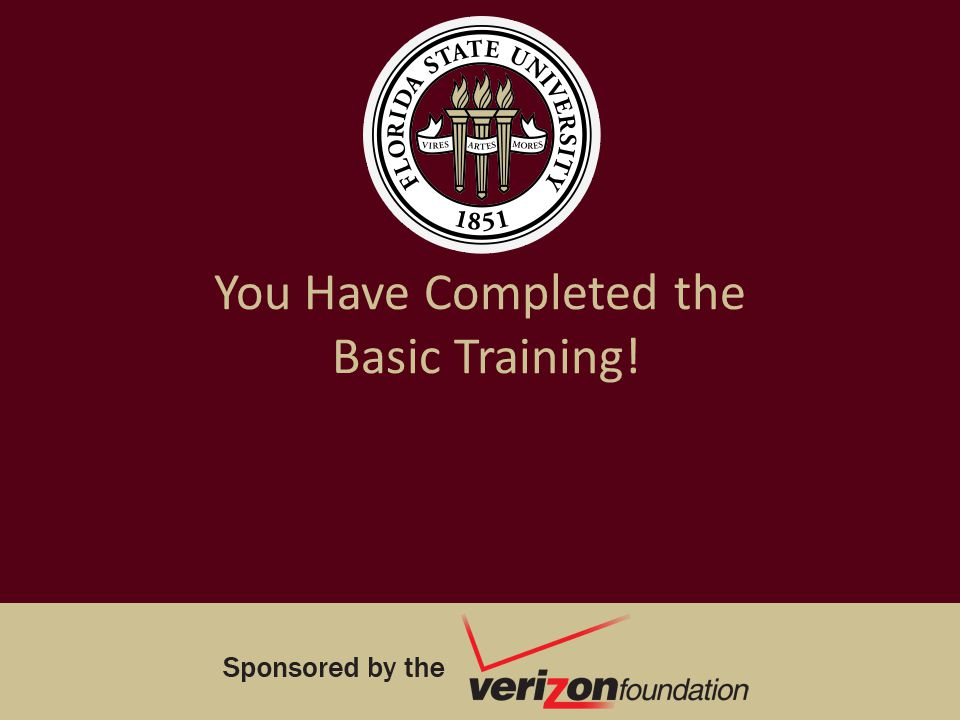 You Have Completed the Basic Training!