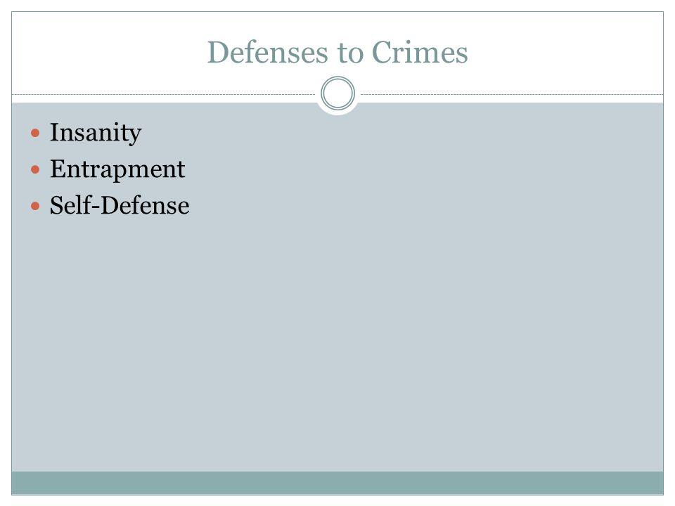 Defenses to Crimes Insanity Entrapment Self-Defense