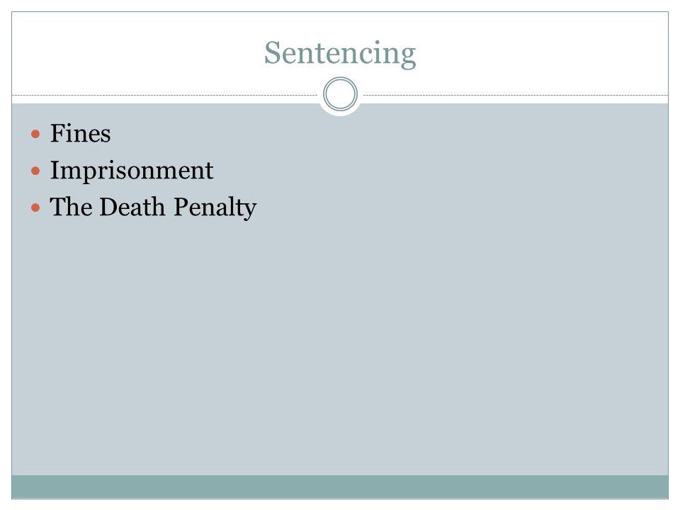 Sentencing Fines Imprisonment The Death Penalty