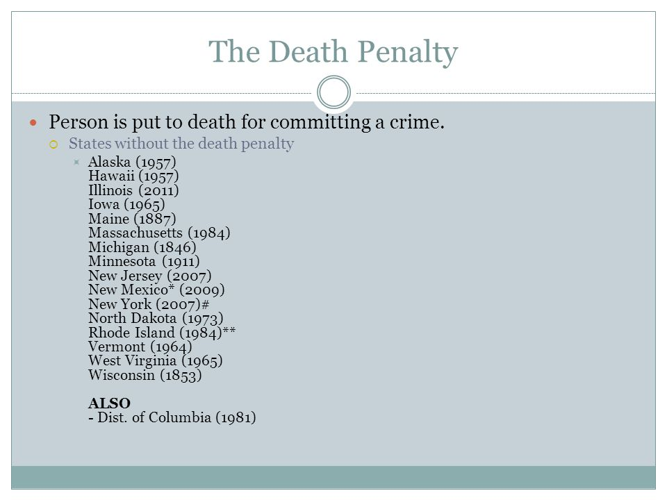 The Death Penalty Person is put to death for committing a crime.