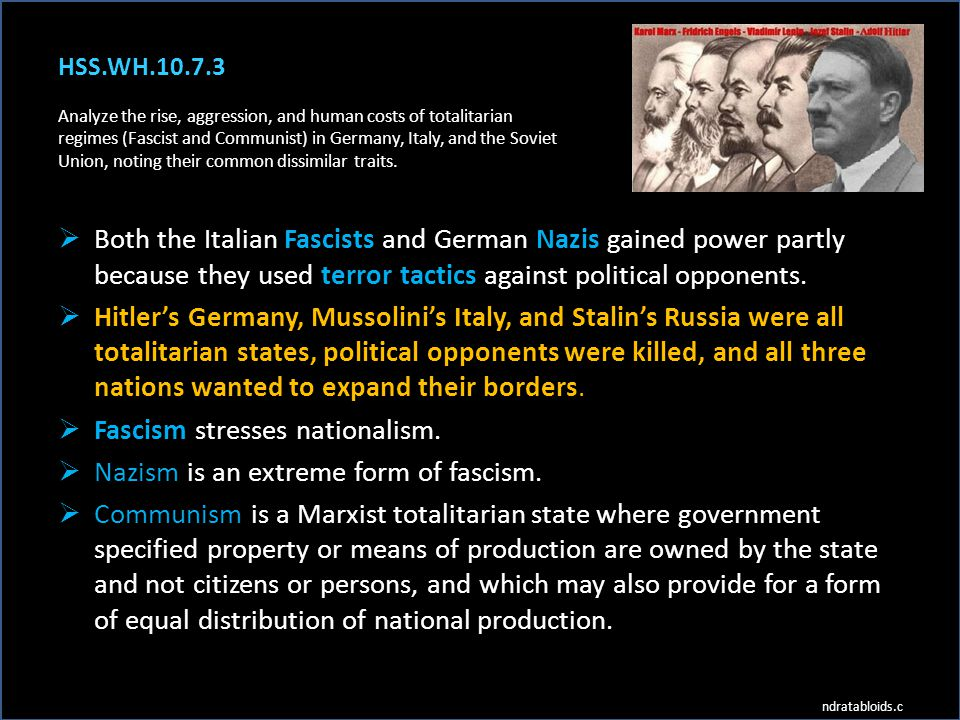 Fascism stresses nationalism. Nazism is an extreme form of fascism.