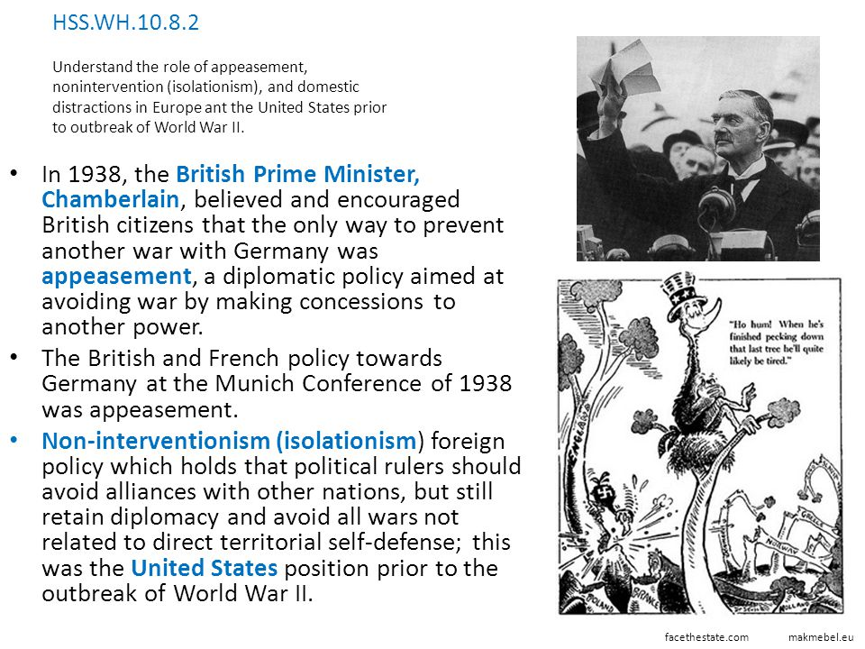 HSS.WH.10.8.2 Understand the role of appeasement, nonintervention (isolationism), and domestic distractions in Europe ant the United States prior to outbreak of World War II.