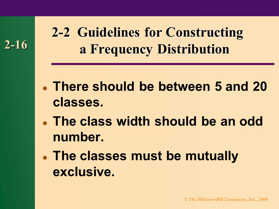 2-2 Guidelines for Constructing a Frequency Distribution