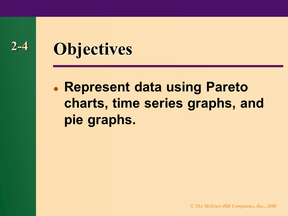 Objectives 2-4 Represent data using Pareto charts, time series graphs, and pie graphs.