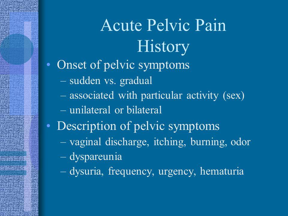 Acute Pelvic Pain History
