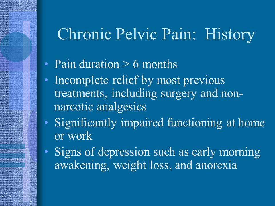 Chronic Pelvic Pain: History