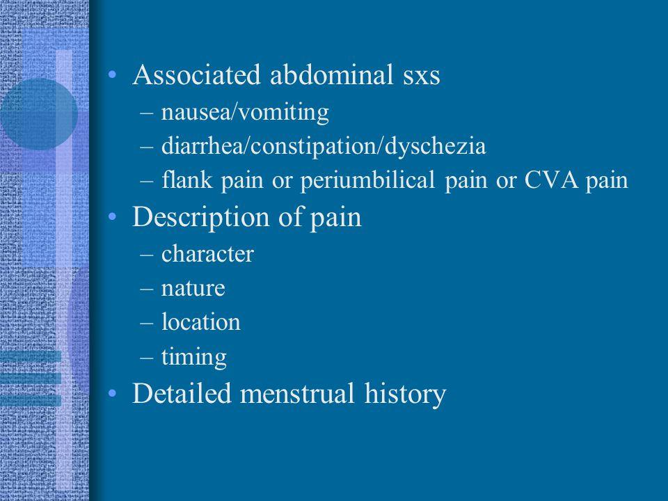 Associated abdominal sxs