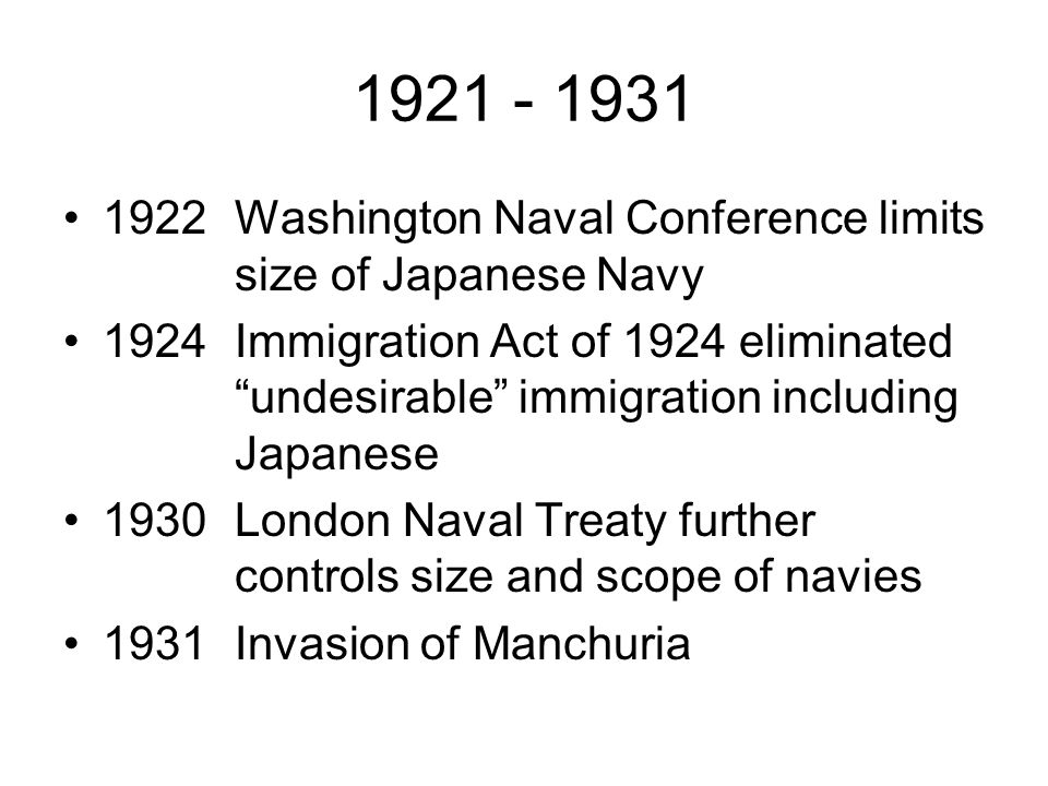 1921 - 1931 1922 Washington Naval Conference limits size of Japanese Navy.