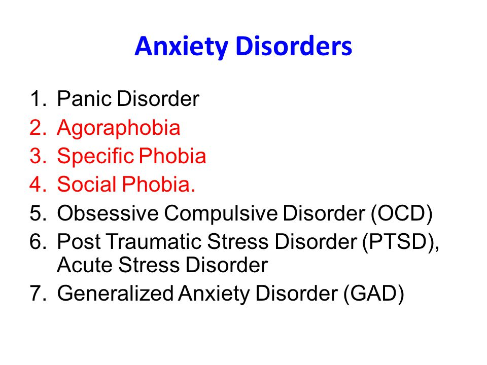 Anxiety Disorders Panic Disorder Agoraphobia Specific Phobia