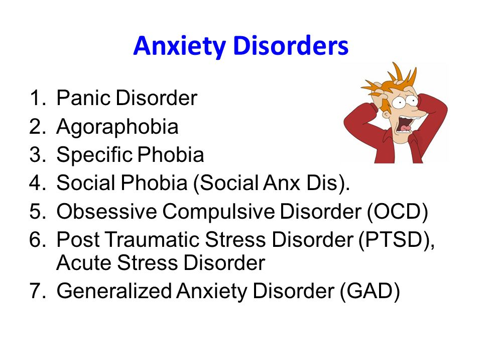 the anxiety disorders Here, experts provide an overview of panic disorder, social anxiety, generalized anxiety disorder, ocd, and ptsd.