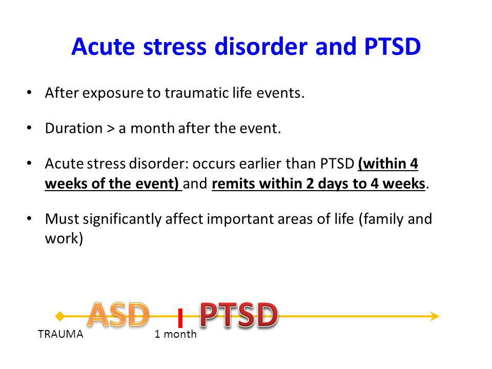 Acute stress disorder and PTSD