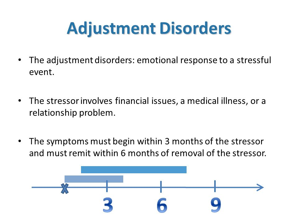 Adjustment Disorders The adjustment disorders: emotional response to a stressful event.