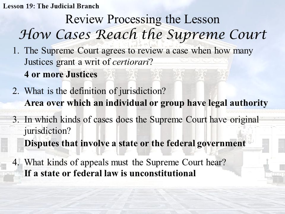 Review Processing the Lesson How Cases Reach the Supreme Court
