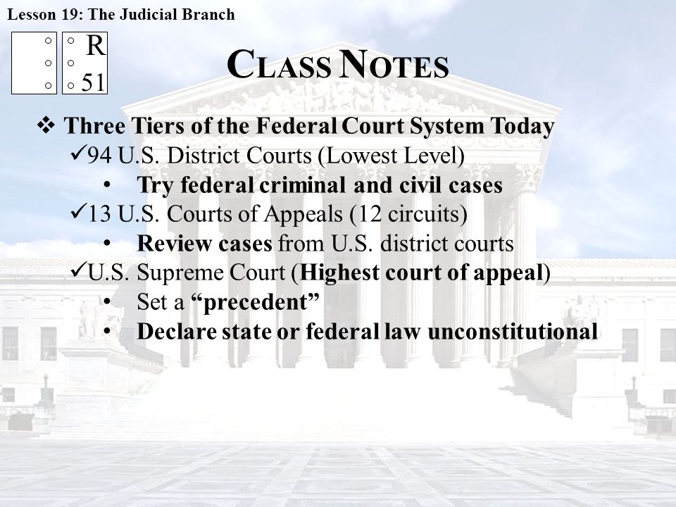 CLASS NOTES R 51 Three Tiers of the Federal Court System Today