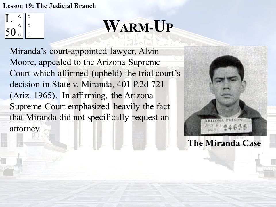 Lesson 19: The Judicial Branch
