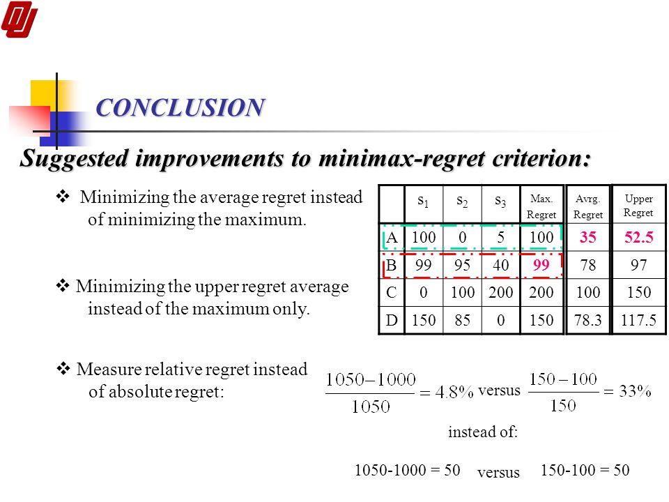 Suggested improvements to minimax-regret criterion: