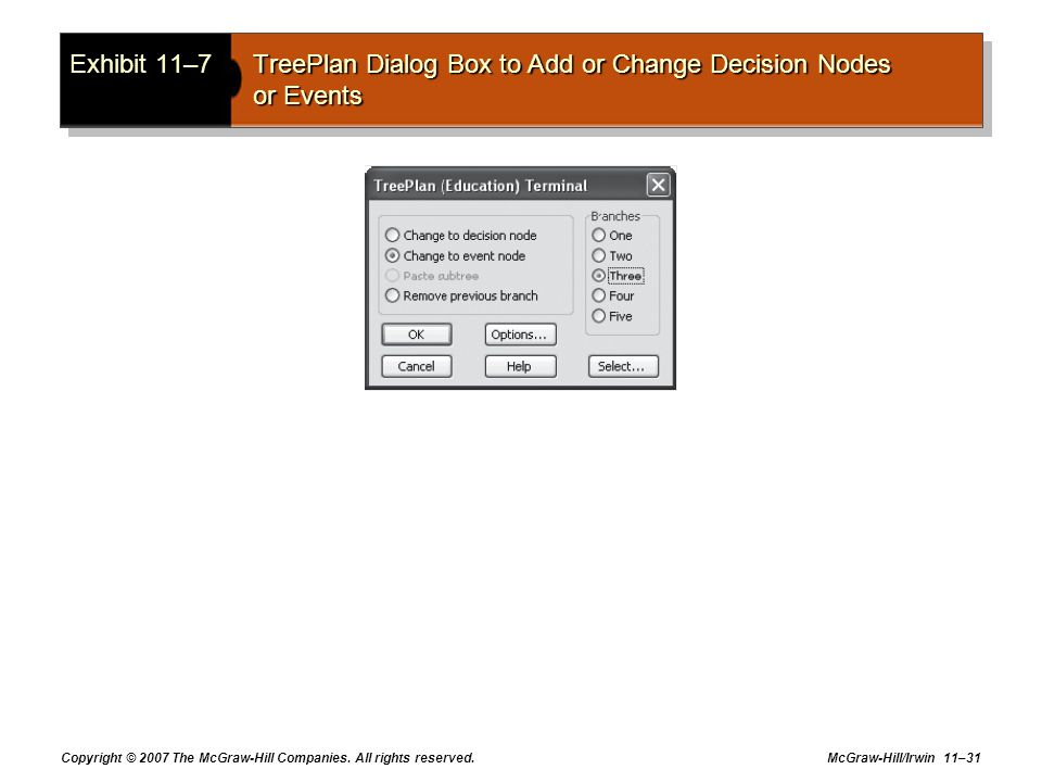 Exhibit 11–7 TreePlan Dialog Box to Add or Change Decision Nodes or Events