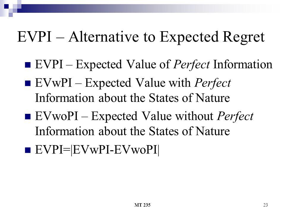 EVPI – Alternative to Expected Regret