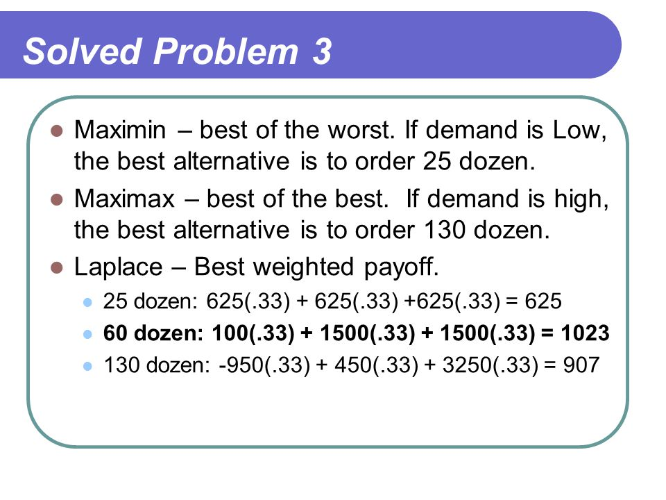 Solved Problem 3 Maximin – best of the worst. If demand is Low, the best alternative is to order 25 dozen.