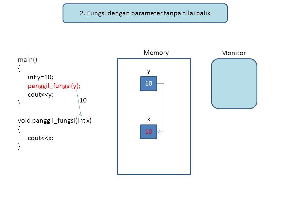 2. Fungsi dengan parameter tanpa nilai balik