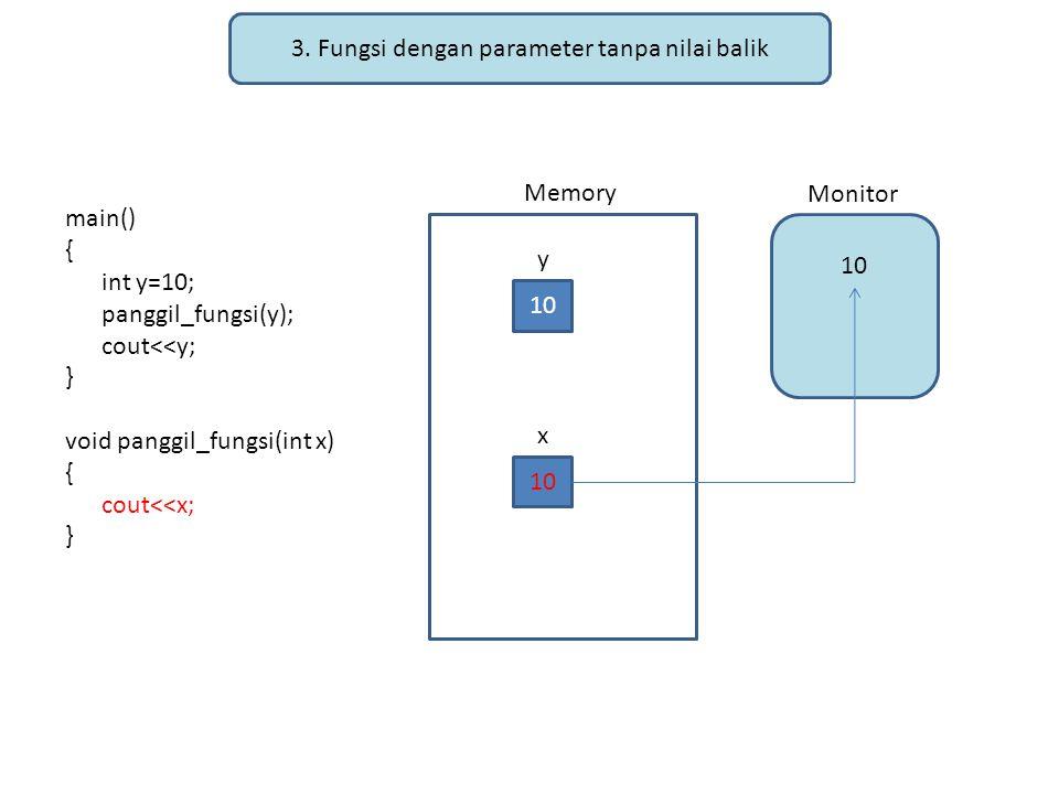 3. Fungsi dengan parameter tanpa nilai balik