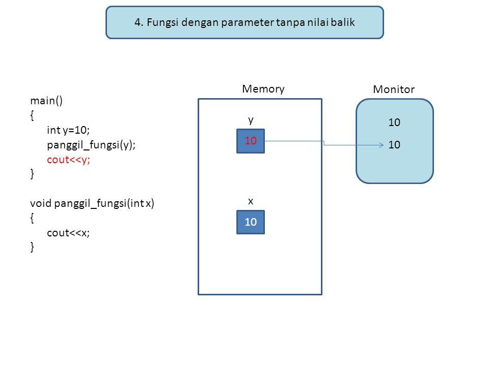 4. Fungsi dengan parameter tanpa nilai balik