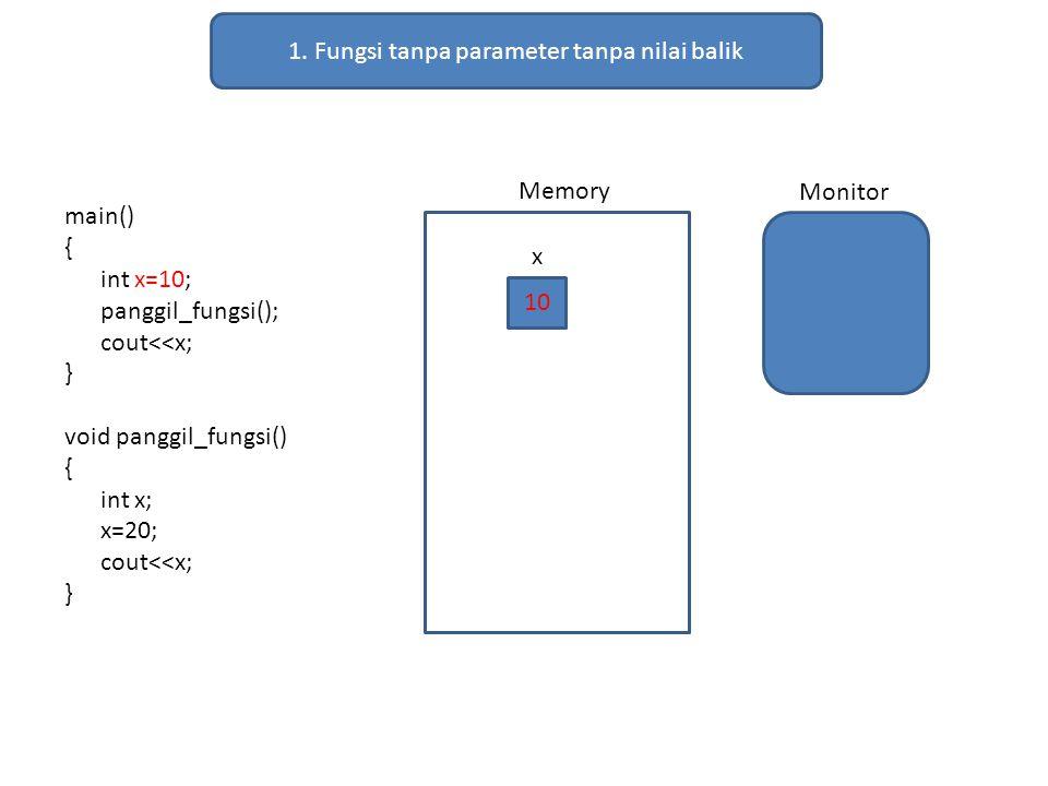 1. Fungsi tanpa parameter tanpa nilai balik