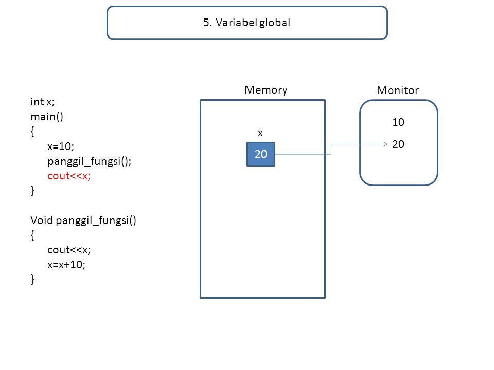 5. Variabel global Memory. Monitor. int x; main() { x=10; panggil_fungsi(); cout<<x; } Void panggil_fungsi()