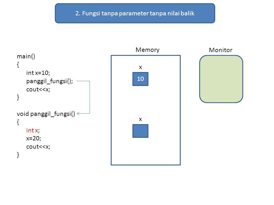 2. Fungsi tanpa parameter tanpa nilai balik