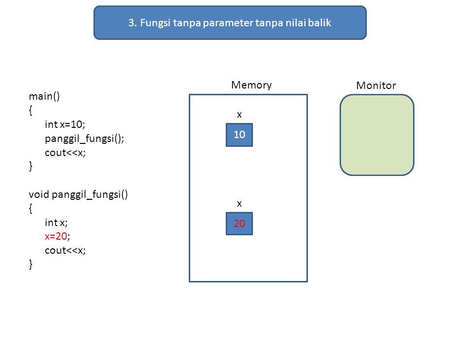3. Fungsi tanpa parameter tanpa nilai balik