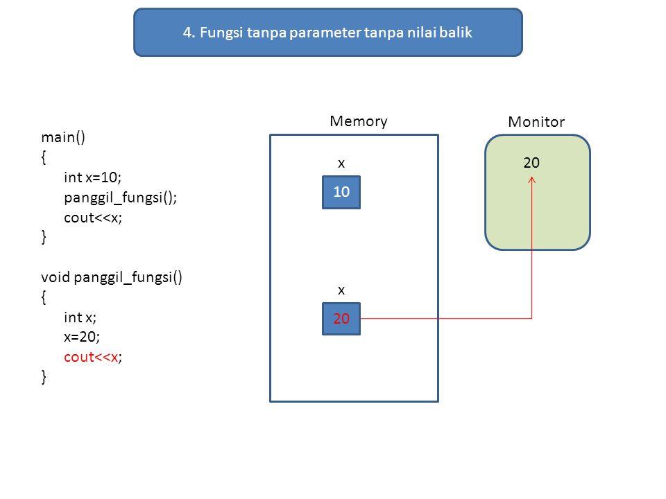 4. Fungsi tanpa parameter tanpa nilai balik