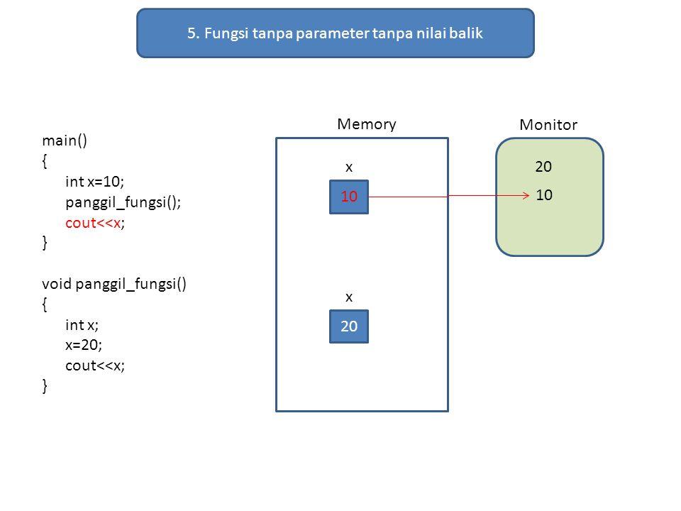 5. Fungsi tanpa parameter tanpa nilai balik