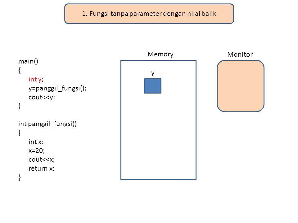 1. Fungsi tanpa parameter dengan nilai balik
