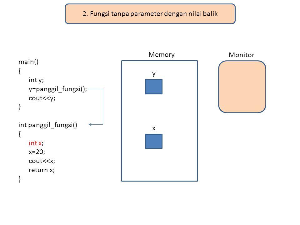 2. Fungsi tanpa parameter dengan nilai balik