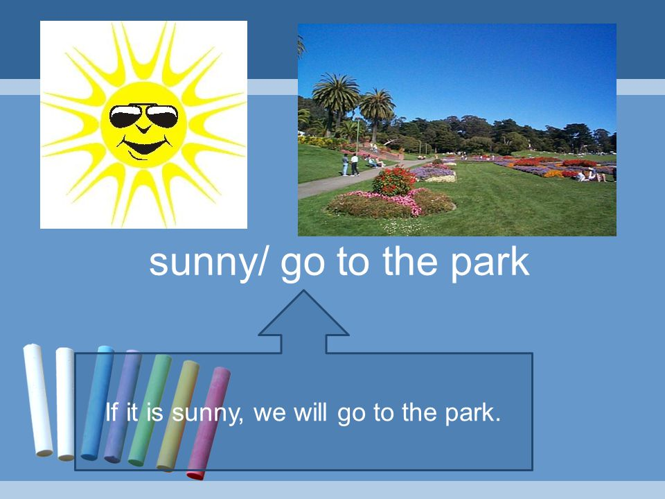 If it is sunny, we will go to the park.