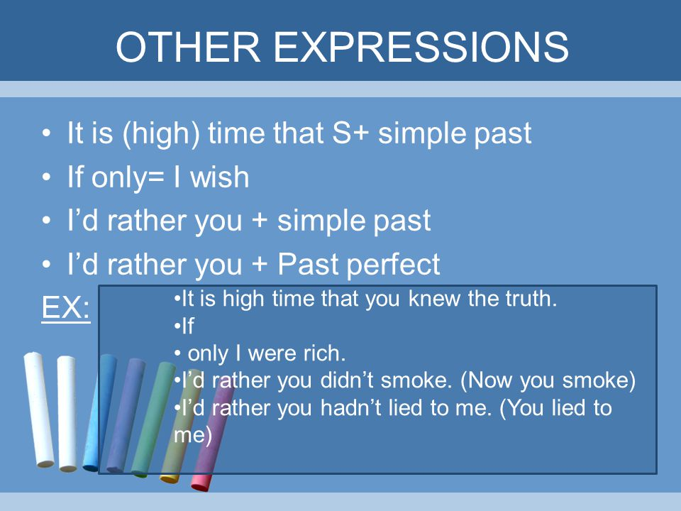 OTHER EXPRESSIONS It is (high) time that S+ simple past