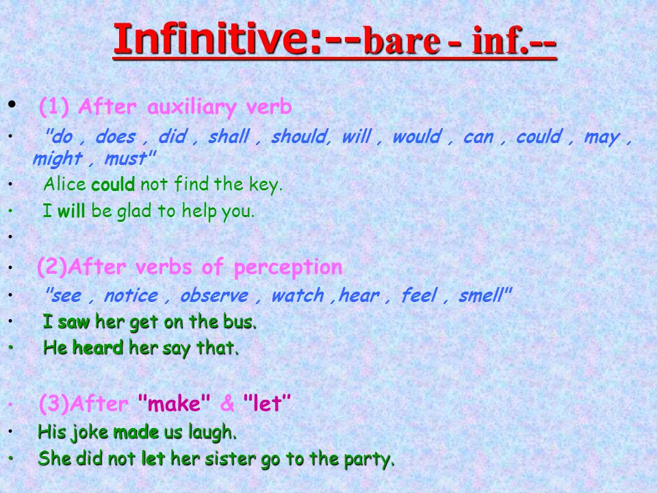 Infinitive:--bare - inf.--