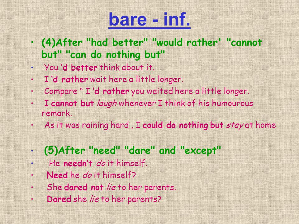 bare - inf. (4)After had better would rather cannot but can do nothing but You 'd better think about it.