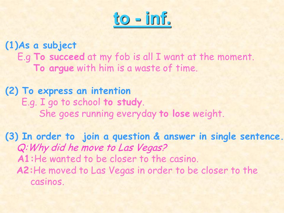 to - inf. (1)As a subject. E.g To succeed at my fob is all I want at the moment. To argue with him is a waste of time.