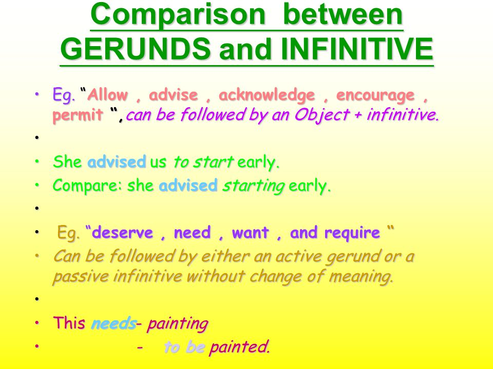Comparison between GERUNDS and INFINITIVE