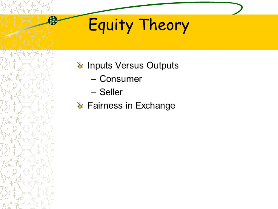 Equity Theory Inputs Versus Outputs Consumer Seller