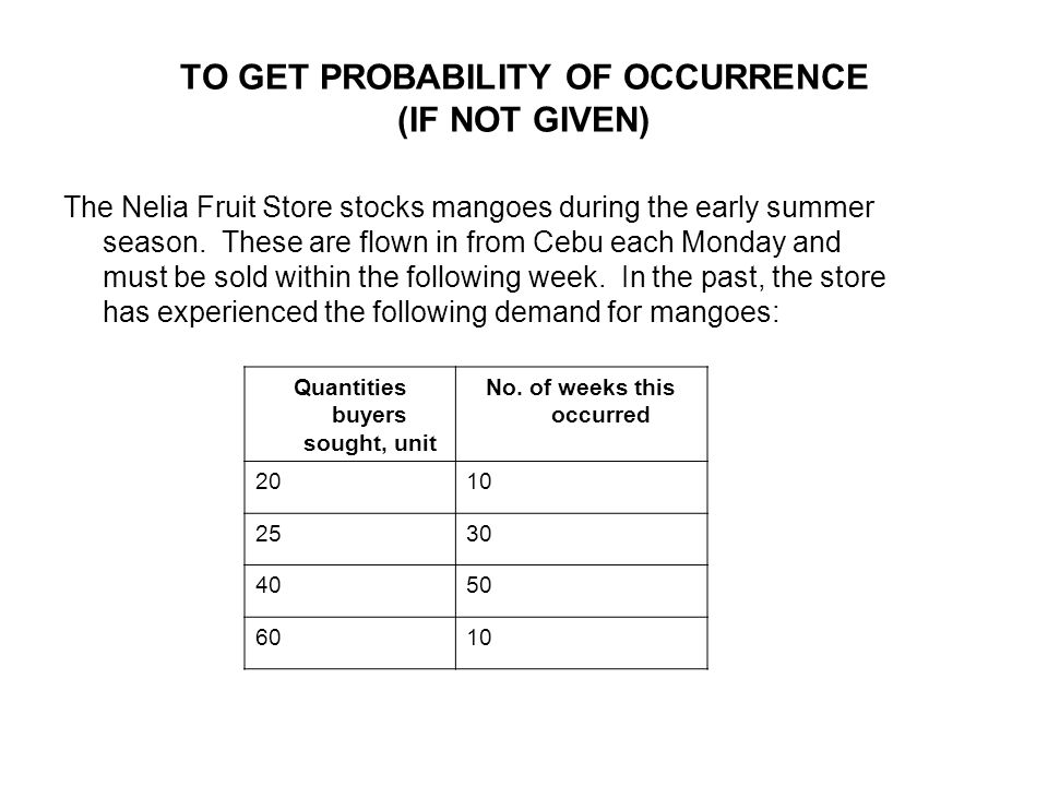 TO GET PROBABILITY OF OCCURRENCE (IF NOT GIVEN)