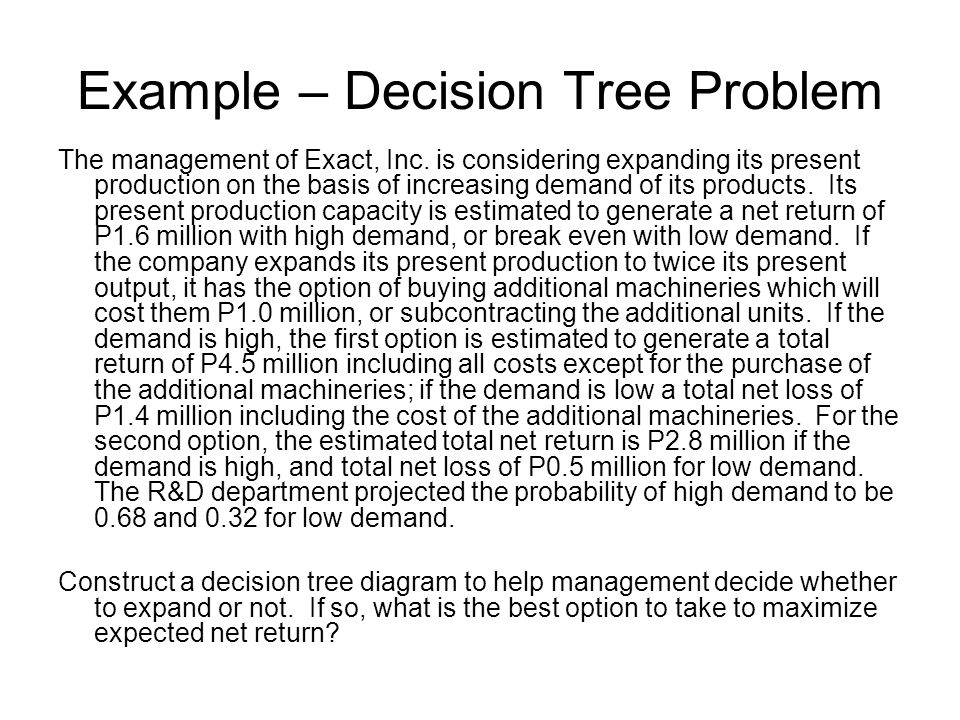 Example – Decision Tree Problem