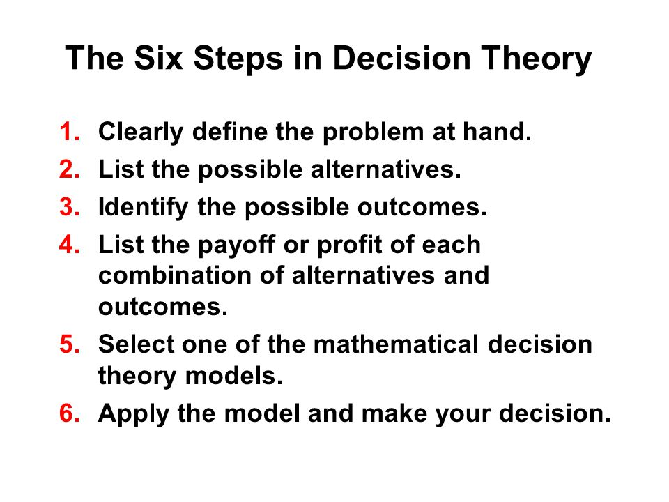 The Six Steps in Decision Theory