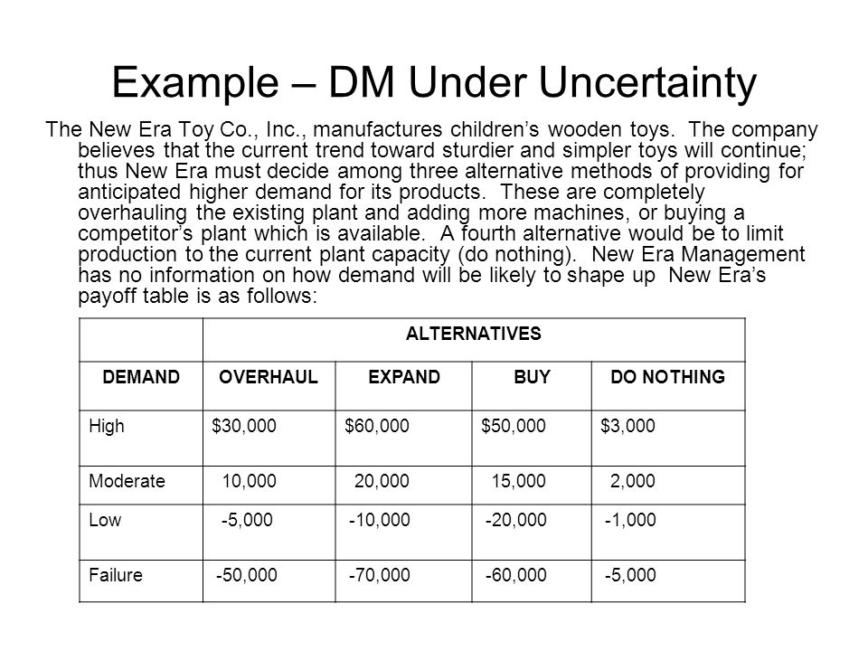 Example – DM Under Uncertainty
