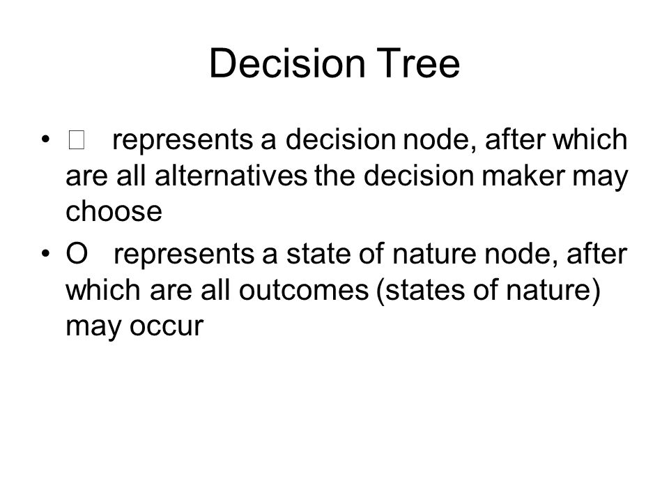 Decision Tree  represents a decision node, after which are all alternatives the decision maker may choose.